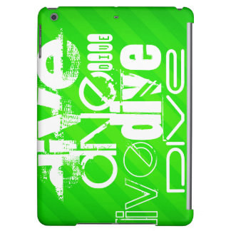 Dive; Neon Green Stripes Case For iPad Air