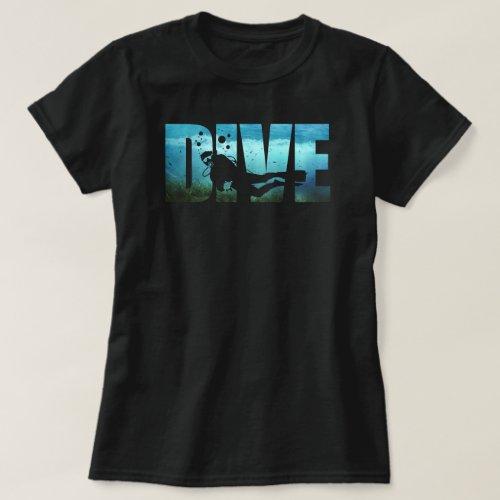 DIVE Scuba Diving Womens Black T_Shirt