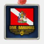 Dive the Bahamas 2 Square Metal Christmas Ornament