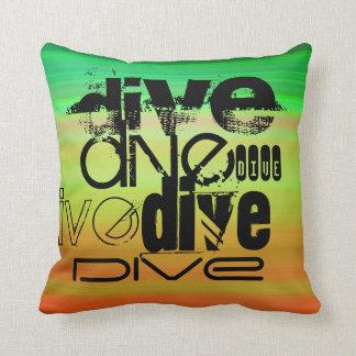 Dive; Vibrant Green, Orange, & Yellow Pillow
