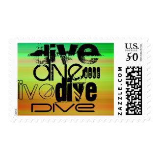 Dive; Vibrant Green, Orange, & Yellow Postage