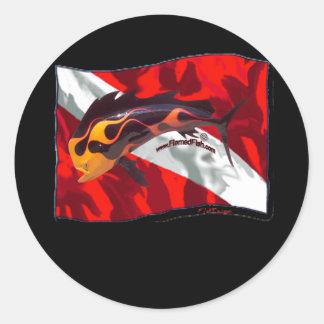 DiveFlag con Dorado flameado Etiquetas