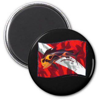 DiveFlag with Flamed Dorado 2 Inch Round Magnet