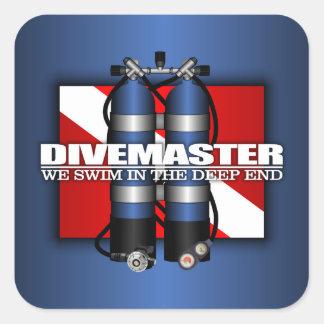 Divemaster los tanques del equipo de submarinismo calcomanías cuadradases