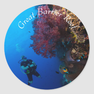 Diver and Coral on the Great Barrier Reef Classic Round Sticker