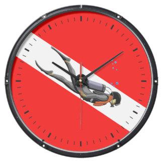 Diver And Dive Flag Aquavista Clocks
