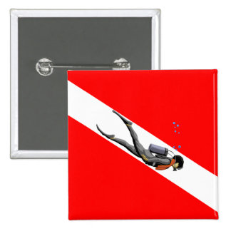 Diver And Dive Flag Pin