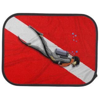 Diver And Dive Flag Car Floor Mat