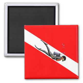 Diver And Dive Flag Refrigerator Magnets