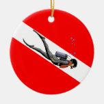 Diver And Dive Flag Double-Sided Ceramic Round Christmas Ornament