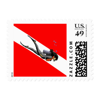 Diver And Dive Flag Postage