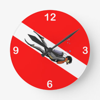 Diver And Dive Flag Round Clock