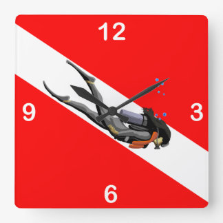 Diver And Dive Flag Square Wall Clock