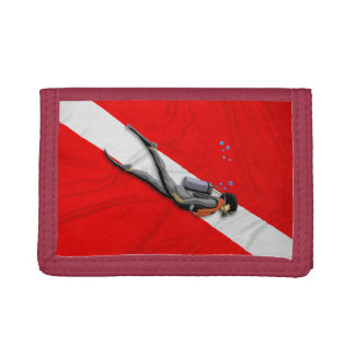 Diver And Dive Flag Tri-fold Wallet
