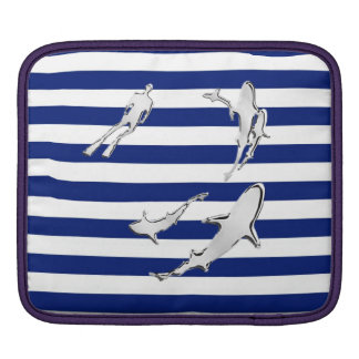 Diver and Sharks Silhouettes on Nautical Stripes iPad Sleeve