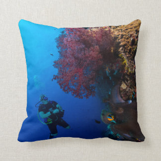 Diver and Soft Coral on the Great Barrier Reef Pillow
