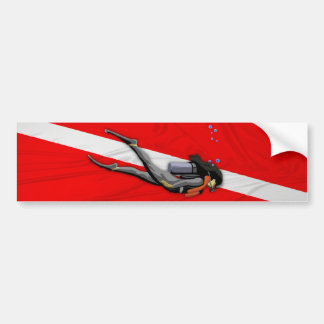 Diver And Wrinkled Dive Flag Bumper Sticker