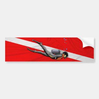 Diver And Wrinkled Dive Flag Car Bumper Sticker