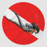 Diver And Wrinkled Dive Flag Classic Round Sticker