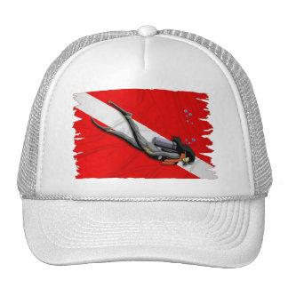 Diver And Wrinkled Dive Flag Trucker Hat