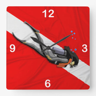 Diver And Wrinkled Dive Flag Square Wall Clock