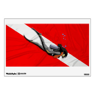 Diver And Wrinkled Dive Flag Wall Skins