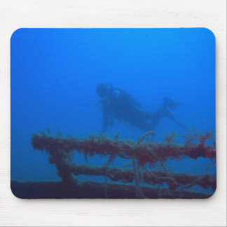 Diver at Wreck Mouse Pad
