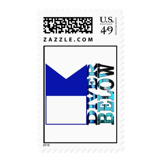 diver below blue flag postage
