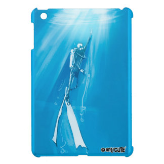 diver deep blue on ocean cartoon style cover for the iPad mini