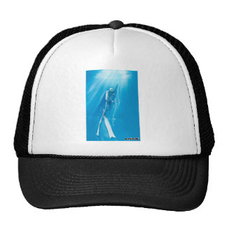 diver deep blue on ocean cartoon style trucker hat