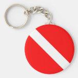 Diver Down Classic Flag SCUBA Basic Round Button Keychain