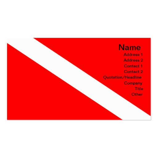 Diver Down Flag Business Card Template