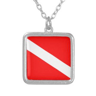 Diver Down Flag Square Pendant Necklace