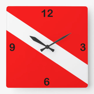 Diver Down Flag Square Wall Clock