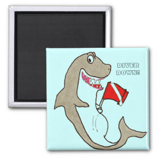 Diver Down! Hungry Shark Cartoon 2 Inch Square Magnet