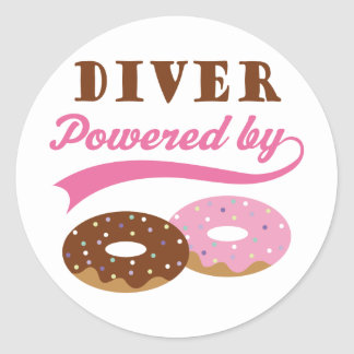 Diver Funny Gift Round Stickers