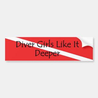 Diver Girls Like It Deeper no-img Bumper Sticker