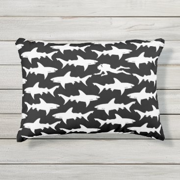 Beach Themed Diver in a School of Sharks Black and White Funny Outdoor Pillow