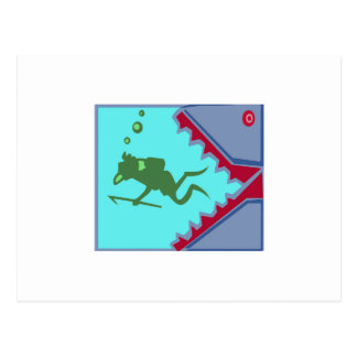 Diver in danger of Shark Teeth Attack Graphic gift Postcard
