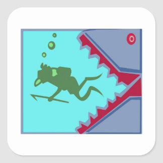 Diver in danger of Shark Teeth Attack Graphic gift Square Sticker