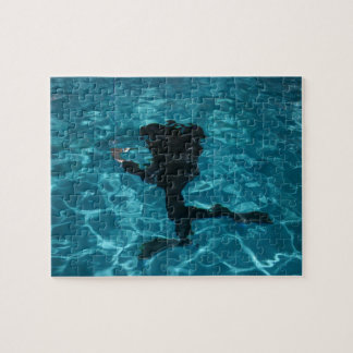 Diver moving underwater jigsaw puzzle
