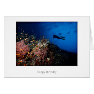 Diver on a Reef Birthday Card