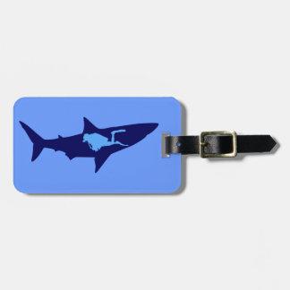 Diver shark more diver shark luggage tag