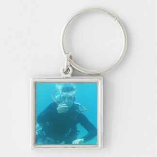 Diver Silver-Colored Square Keychain