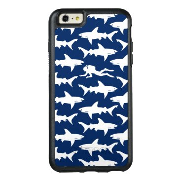 Beach Themed Diver swiming in a school of sharks blue and white OtterBox iPhone 6/6s plus case