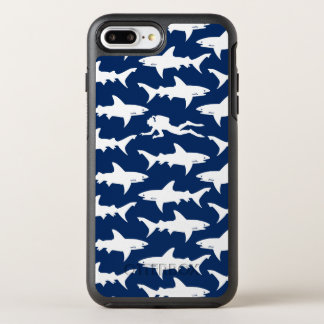 Diver swiming in a school of sharks blue and white OtterBox symmetry iPhone 7 plus case