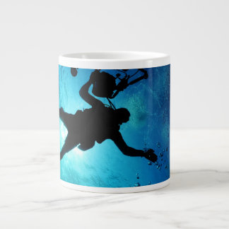 Diver underwater giant coffee mug