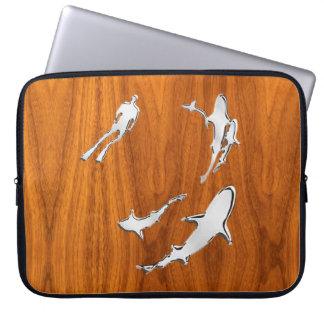 Diver with Sharks Silhouettes on Teak Veneer Laptop Sleeve