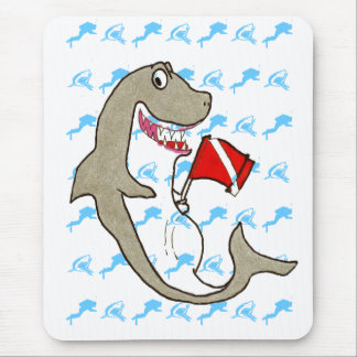 Divers and sharks Diver down flag Mouse Pad