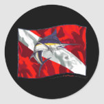 Divers Flag Critter Collection Classic Round Sticker